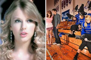 """Taylor Swift is on the left with """"You Belong With Me"""" cover on the right"""