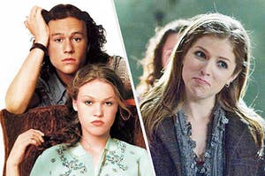 """""""10 Things I Hate About You"""" on the left with Beca from """"Pitch Perfect"""" on the right"""