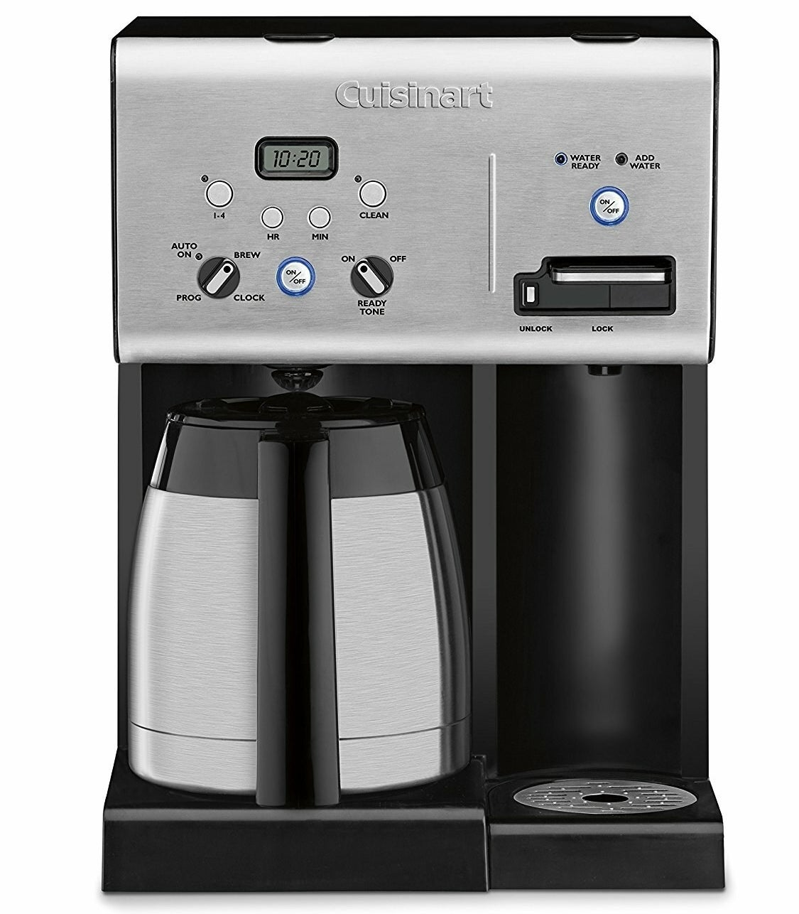 A sleek stainless steel coffee machine with buttons and a display for the time on top and two spots to brew coffee, one for a large carafe (included) and another tall enough for a travel mug