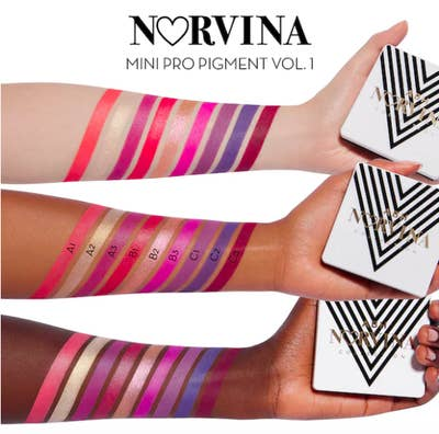 Norvina® Mini Pro Pigment Palette Vol. 1 swatched on three models' arms
