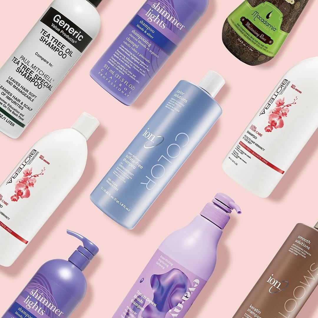 an array of shampoo and conditioner bottles