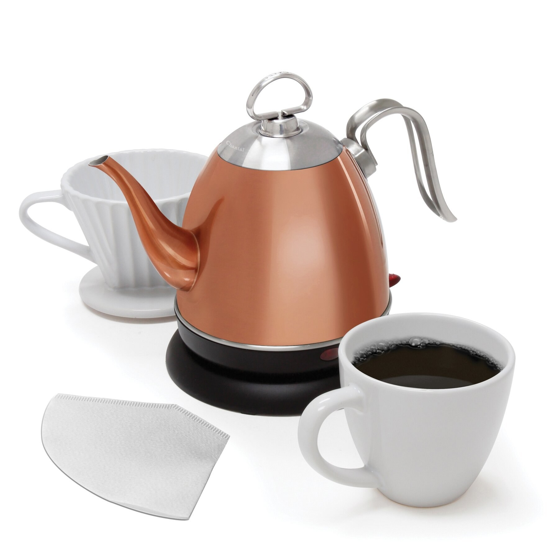 A copper colored electric kettle with a handle and spout