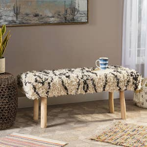 Rectangular bench with white fluffy pattern