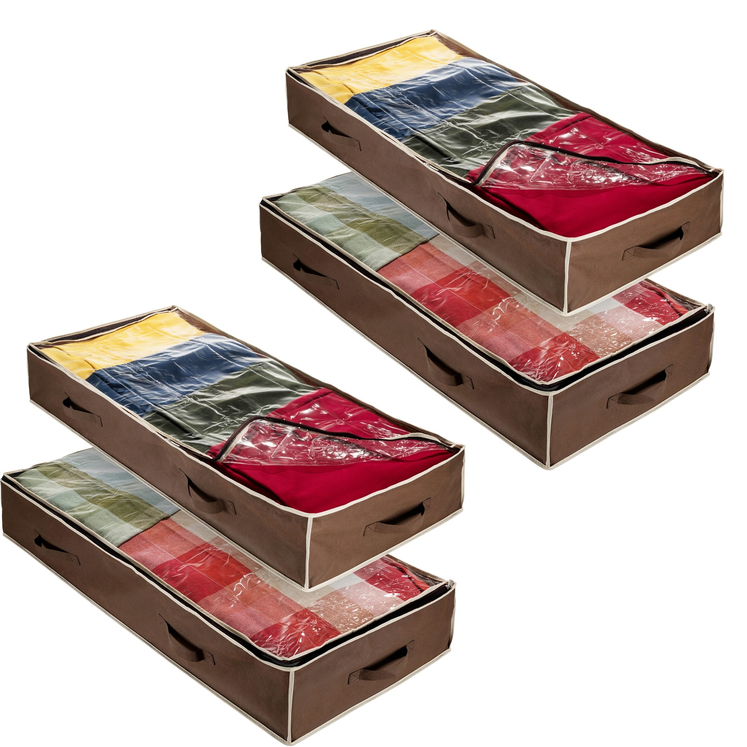 Four rectangular zippered storage bags with clear tops and brown edges and handles on all sides