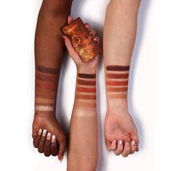 The Petite Heat palette swatched on three models' forearms