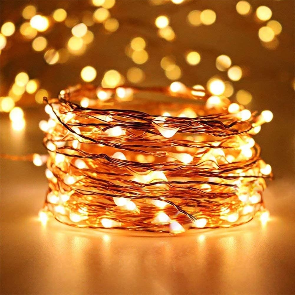 A rolled up string of lights
