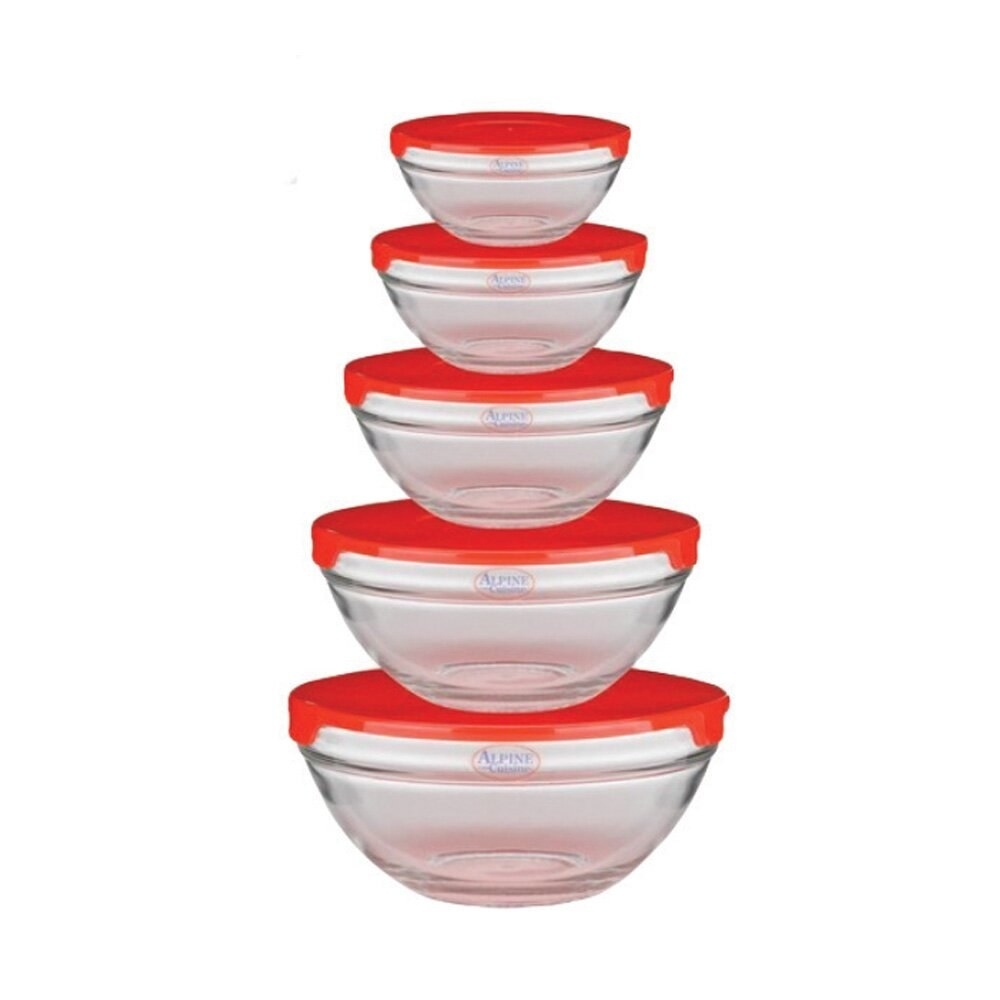 Five glass bowls in different sizes with red tops