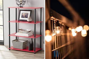 to the left: a red bookshelf, to the right: globe lights
