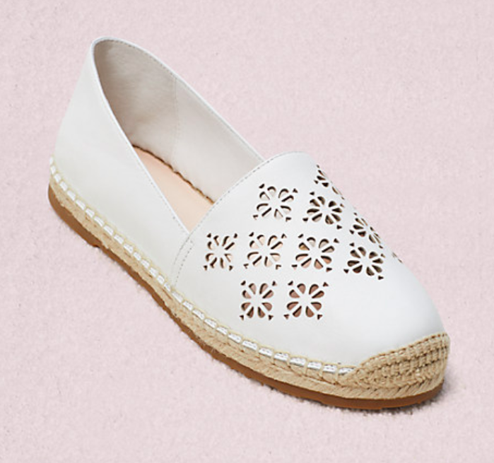 The Garcia espadrille flat in white.