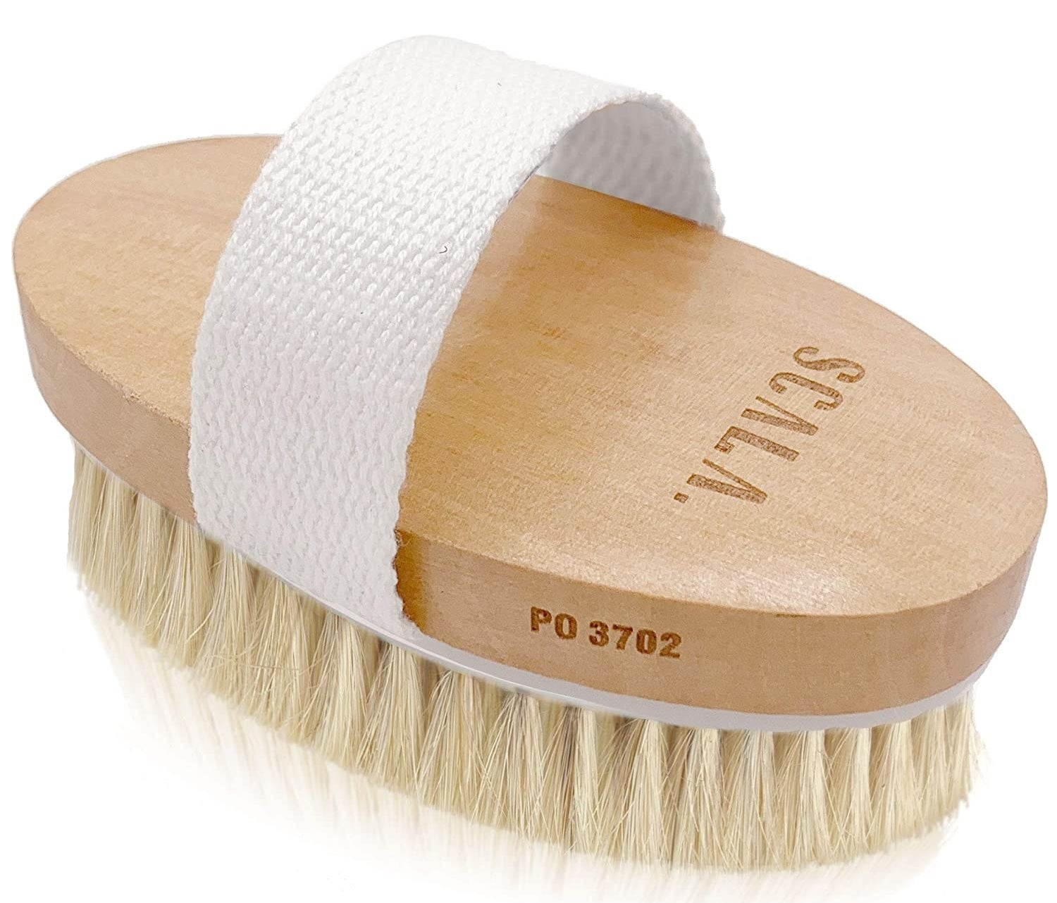 The wet and dry body brush with handle strap and straw-like bristles