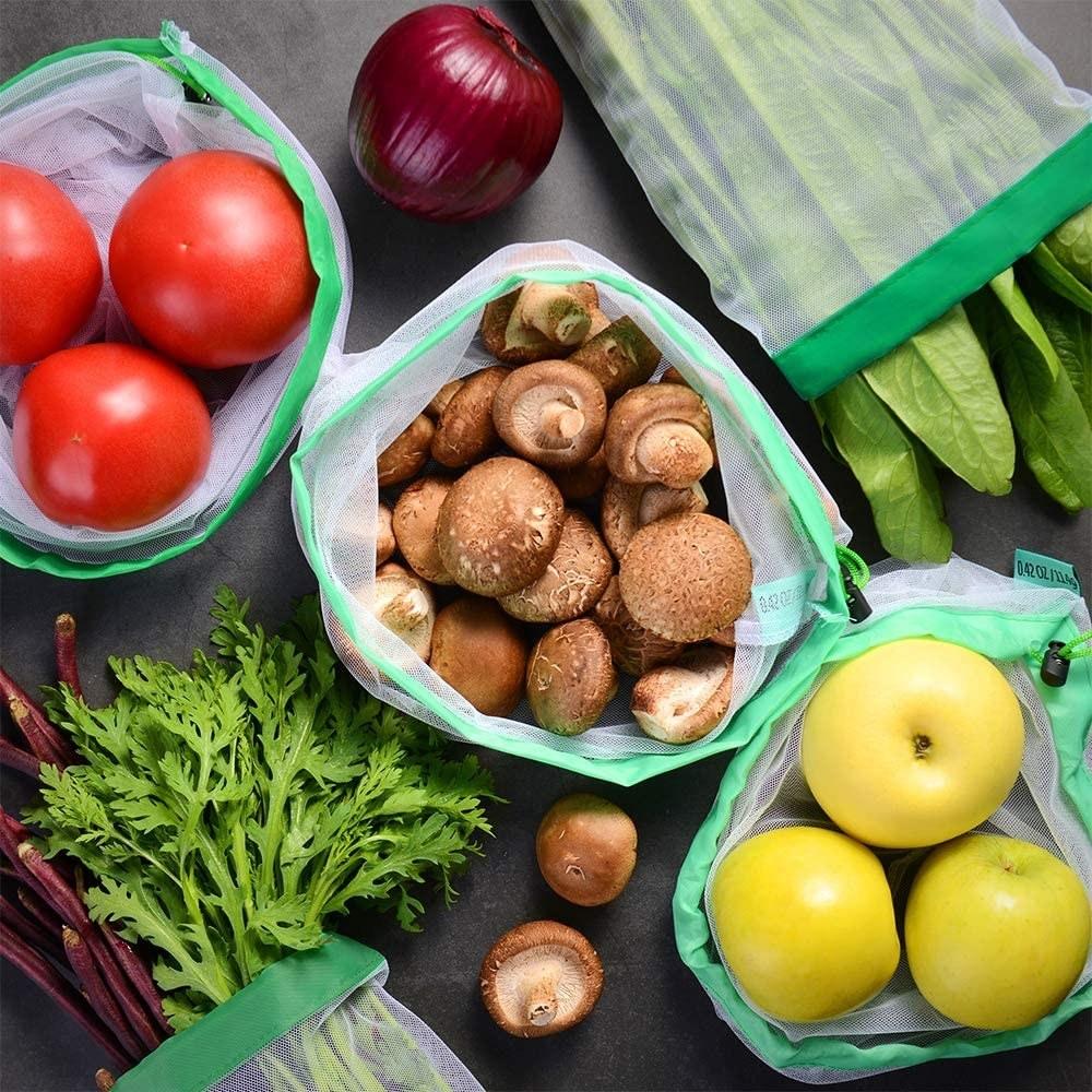 A flatlay of veggies inside the mesh bags