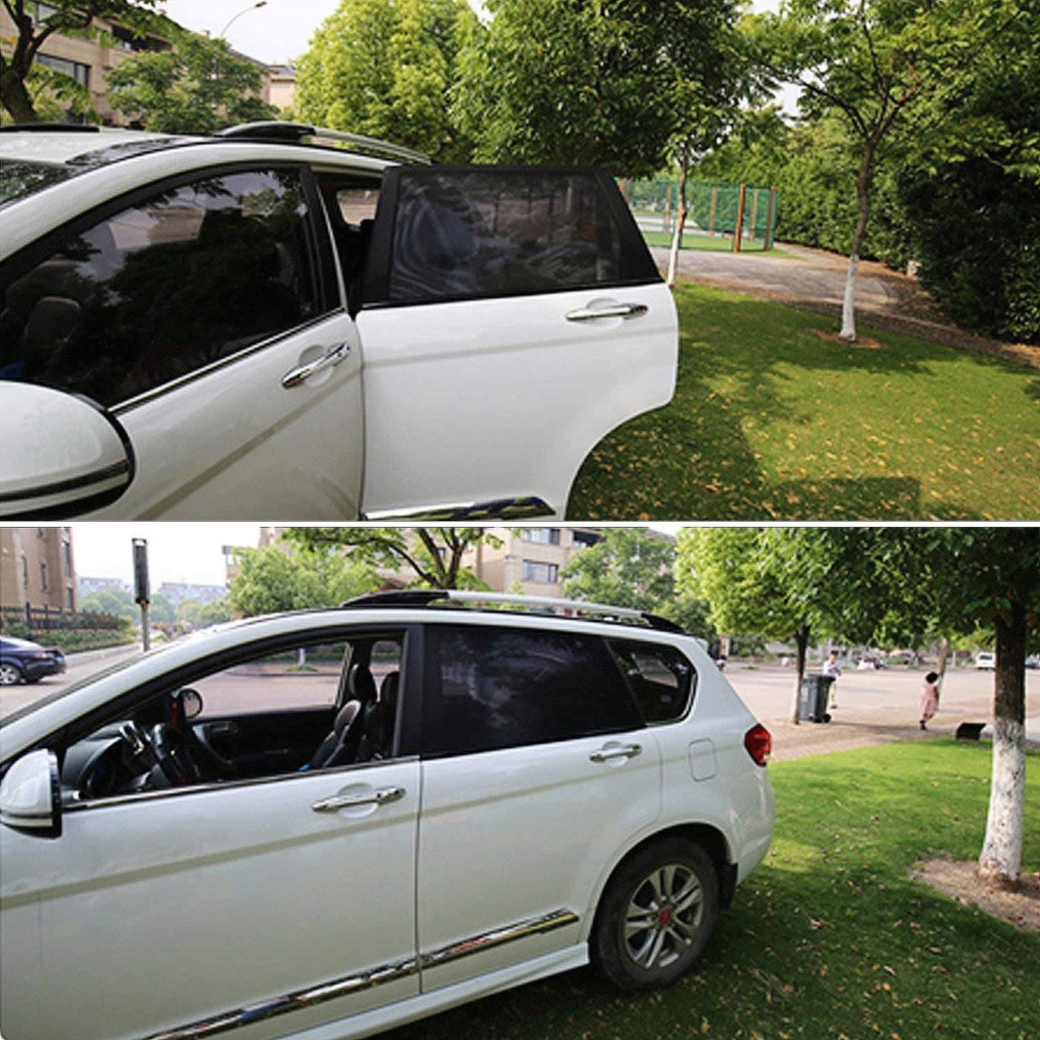 A car with the nylon window cover on one of the back windows