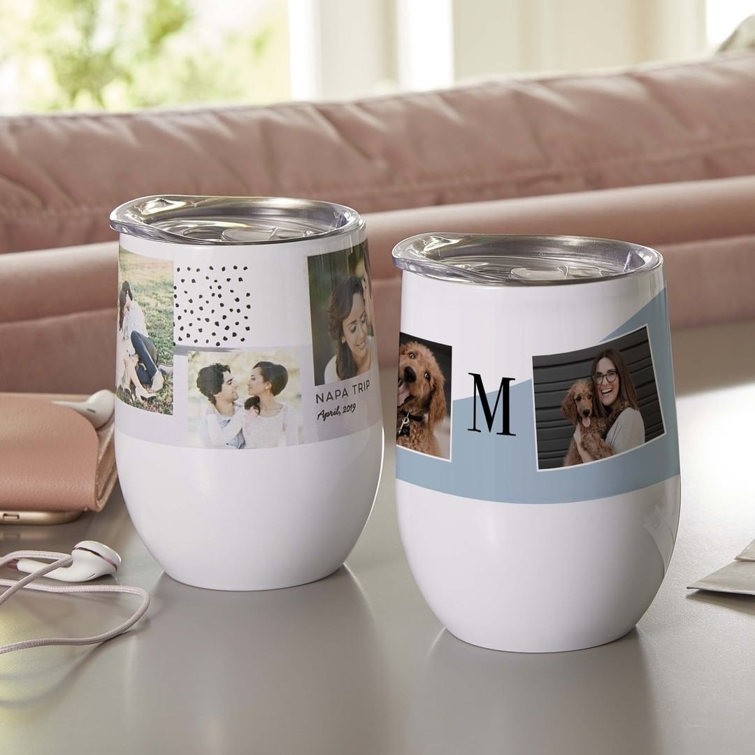 Two customized travel mugs with different layouts for photos