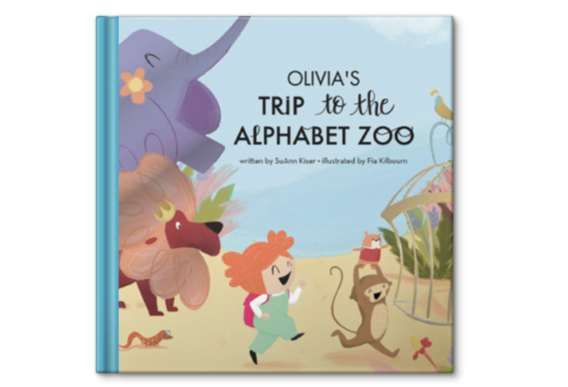 """Story book cover that says """"Olivia's Trip to the Alphabet Zoo"""""""