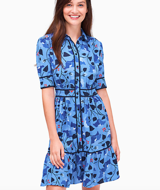 A model wearing the Nouveau Bloom Fluid shirtdress.