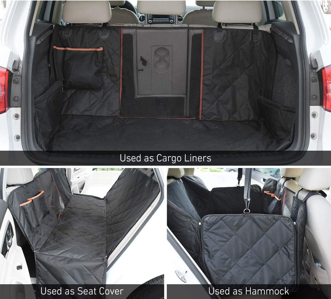 The dog seat cover as a seat cover, hammock, and trunk cover