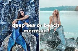 """Deep sea or beach mermaid"" Two mermaids side by side"