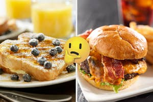 On the left, French toast covered with syrup and blueberries, and on the right, a bacon cheeseburger with a thinking emoji in between the two images