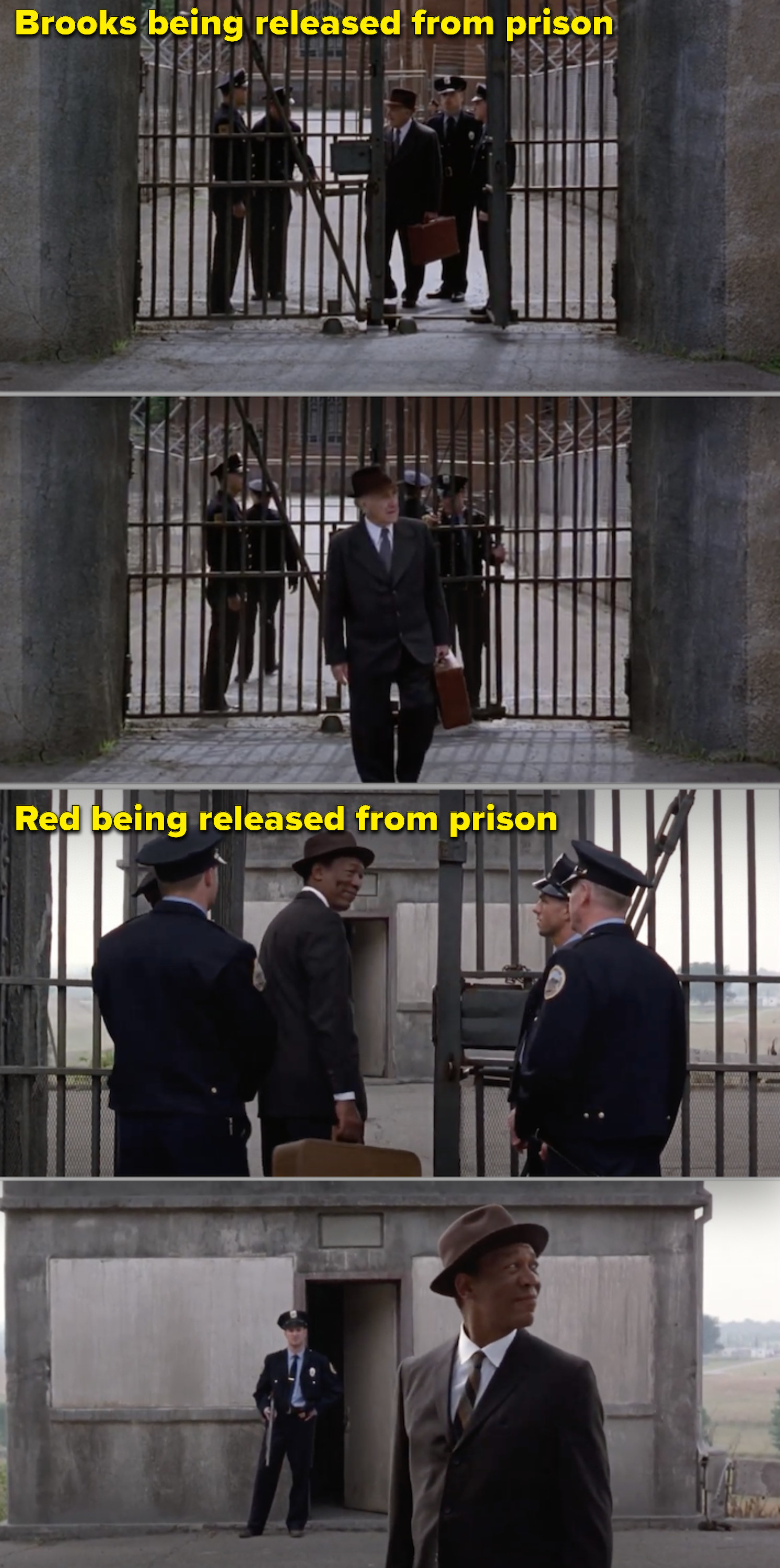 """Side-by-side of both Brooks and Red leaving prison in """"The Shawshank Redemption"""""""