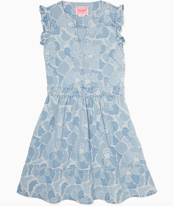 The abstract peony print denim dress.