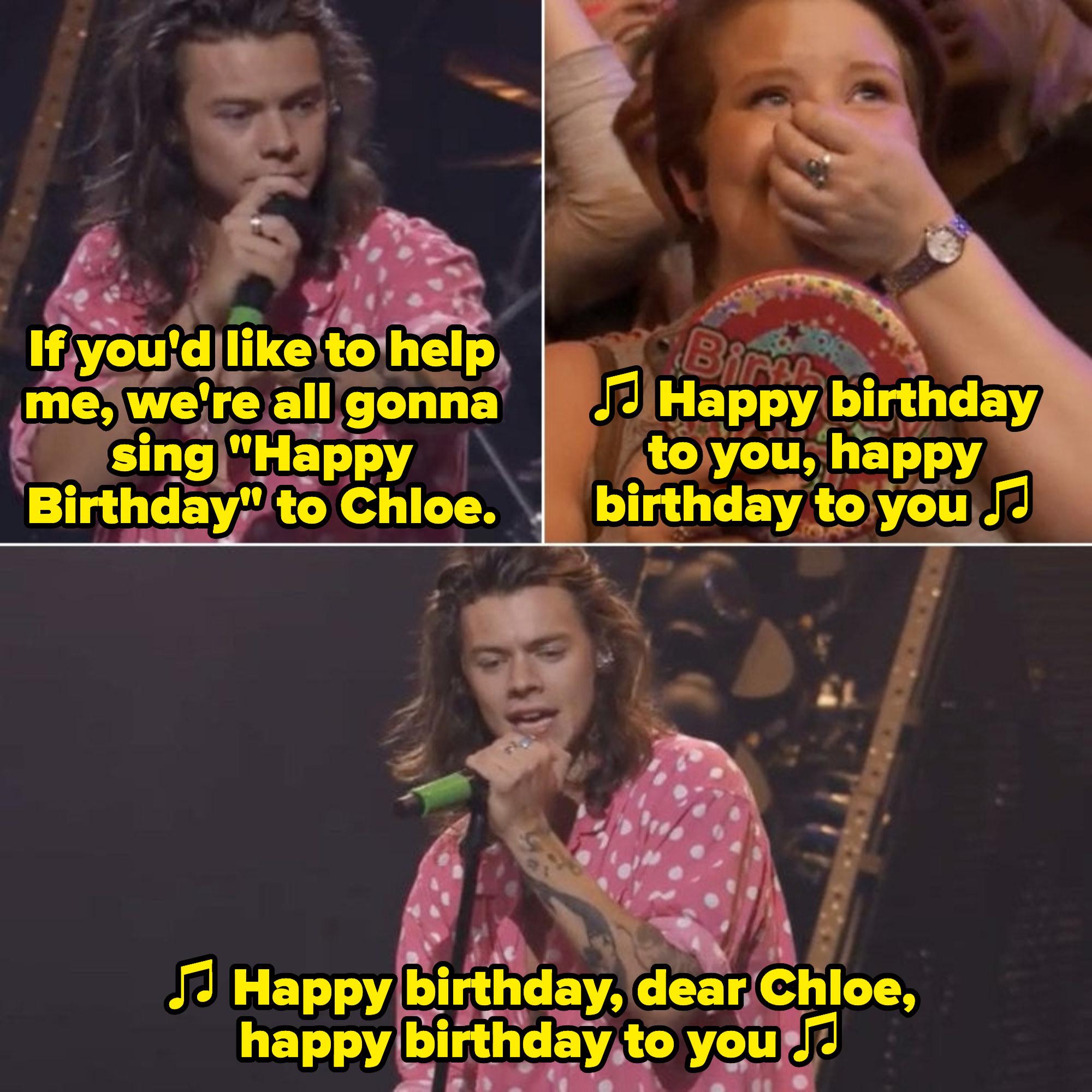 "Harry singing ""Happy Birthday"" to a fan"
