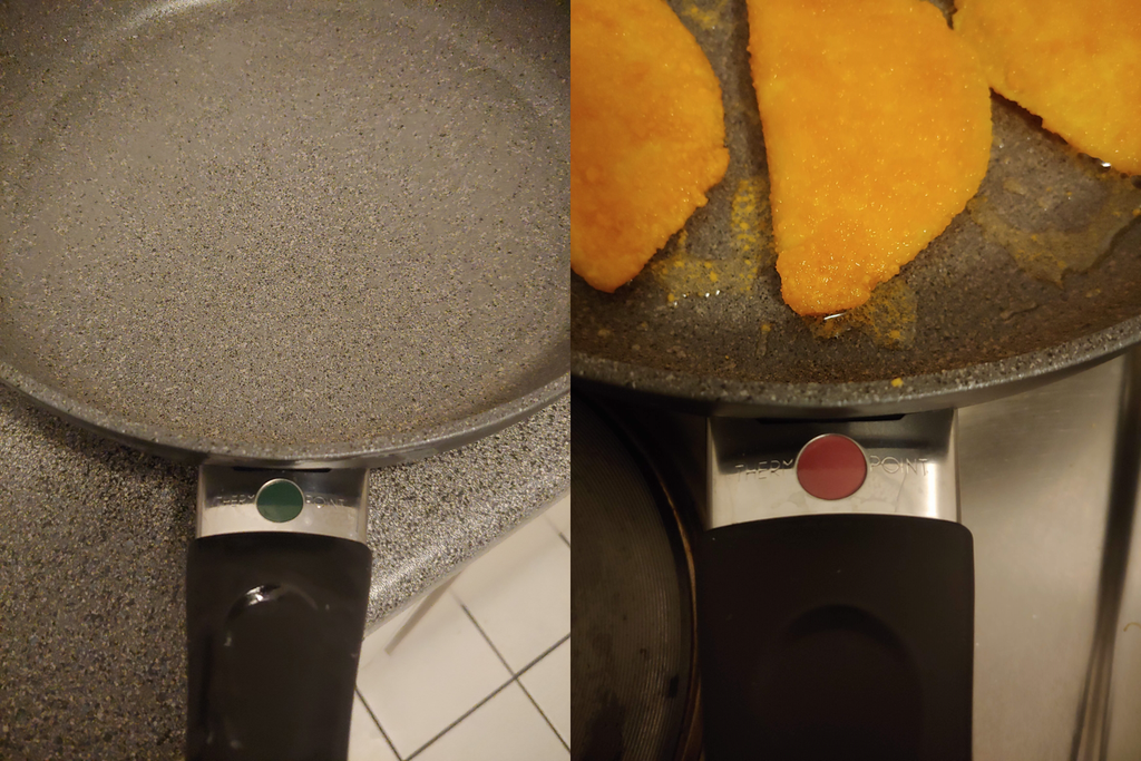 A frying pan with a circle that changes color after it is heated