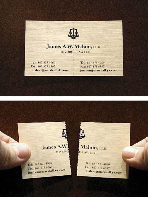 A divorce lawyer business card that tears into two parts
