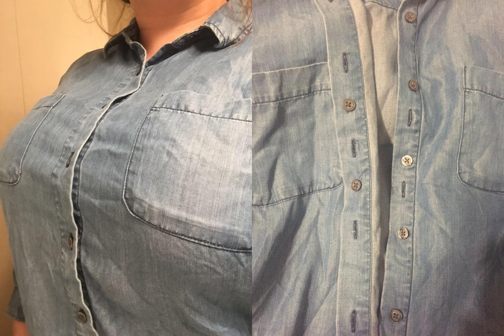 A button-up shirt with an extra layer of buttons on the inside flap