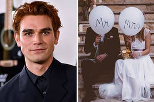 KJ Apa is on the left with Mr and Mrs. balloons on the right