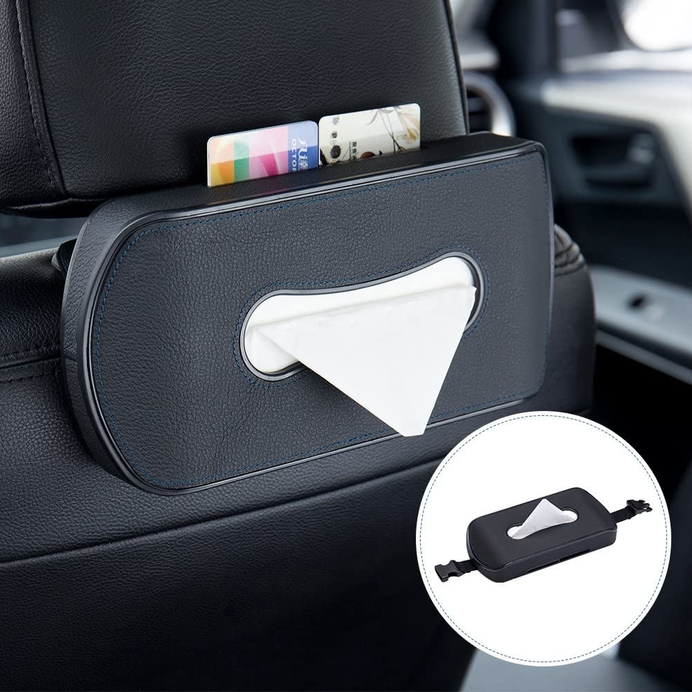 A tissue box attached to the headrest of a car