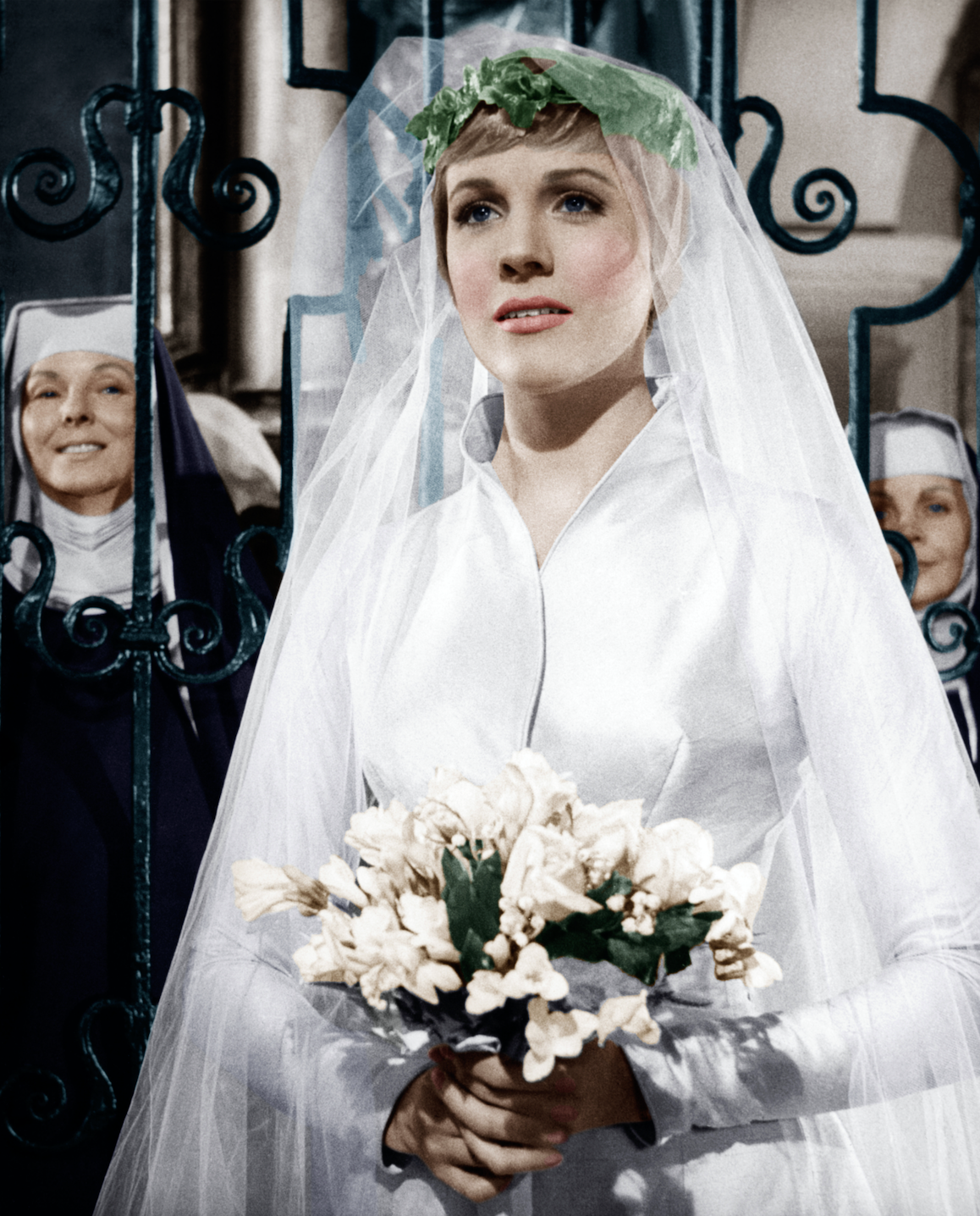 Maria looking elegant with her long veil