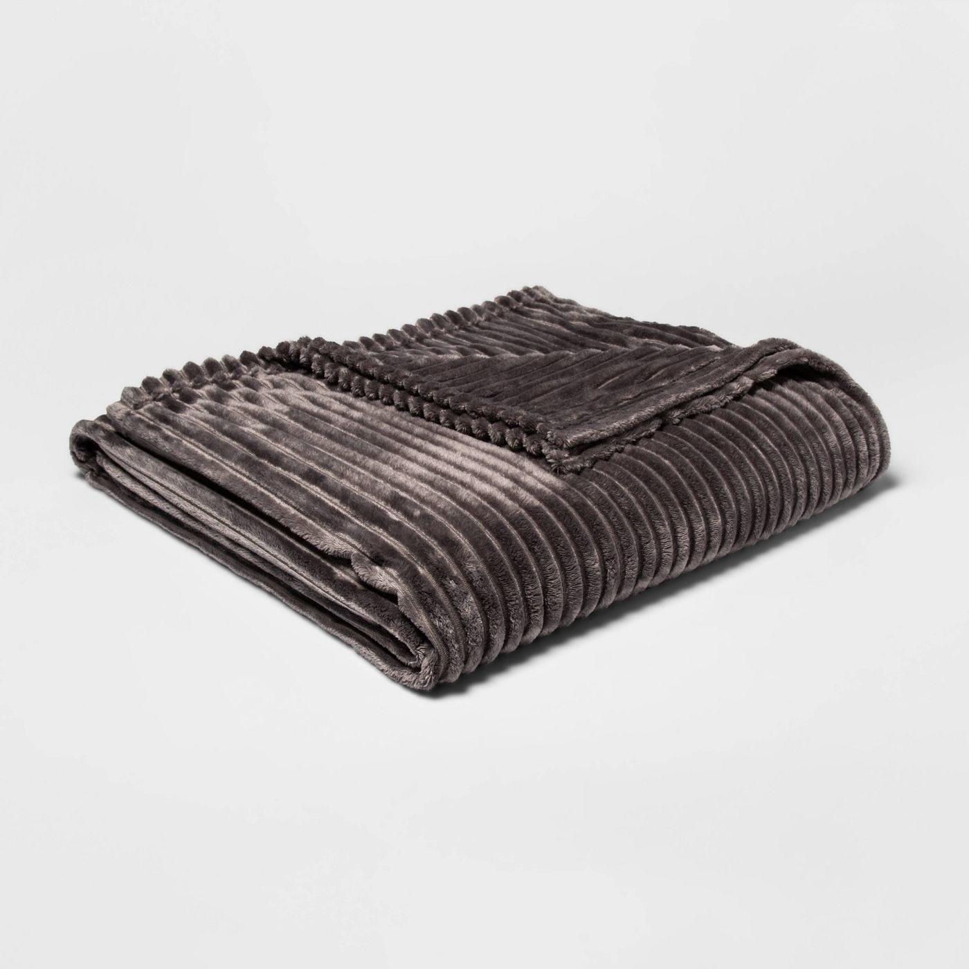 dark gray ribbed plush blanket