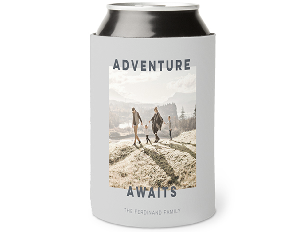 """Can cooler with a photo of a family and text that says """"Adventure Awaits"""""""