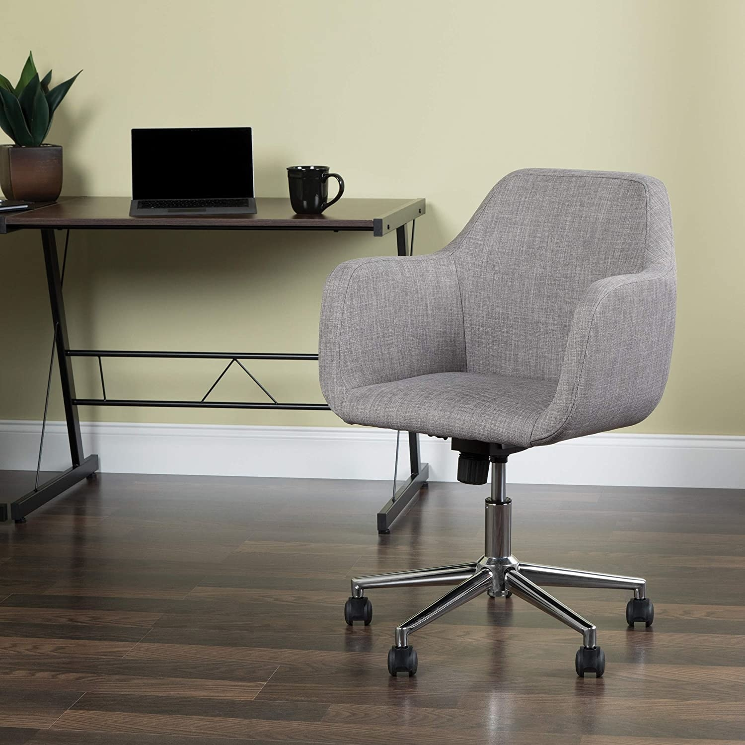 The swivel chair in gray