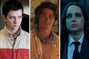 """Otis from """"Sex Education,"""" and John B from """"Outer Banks,"""" and Vanya from """"The Umbrella Academy"""" in a split thumbnail"""