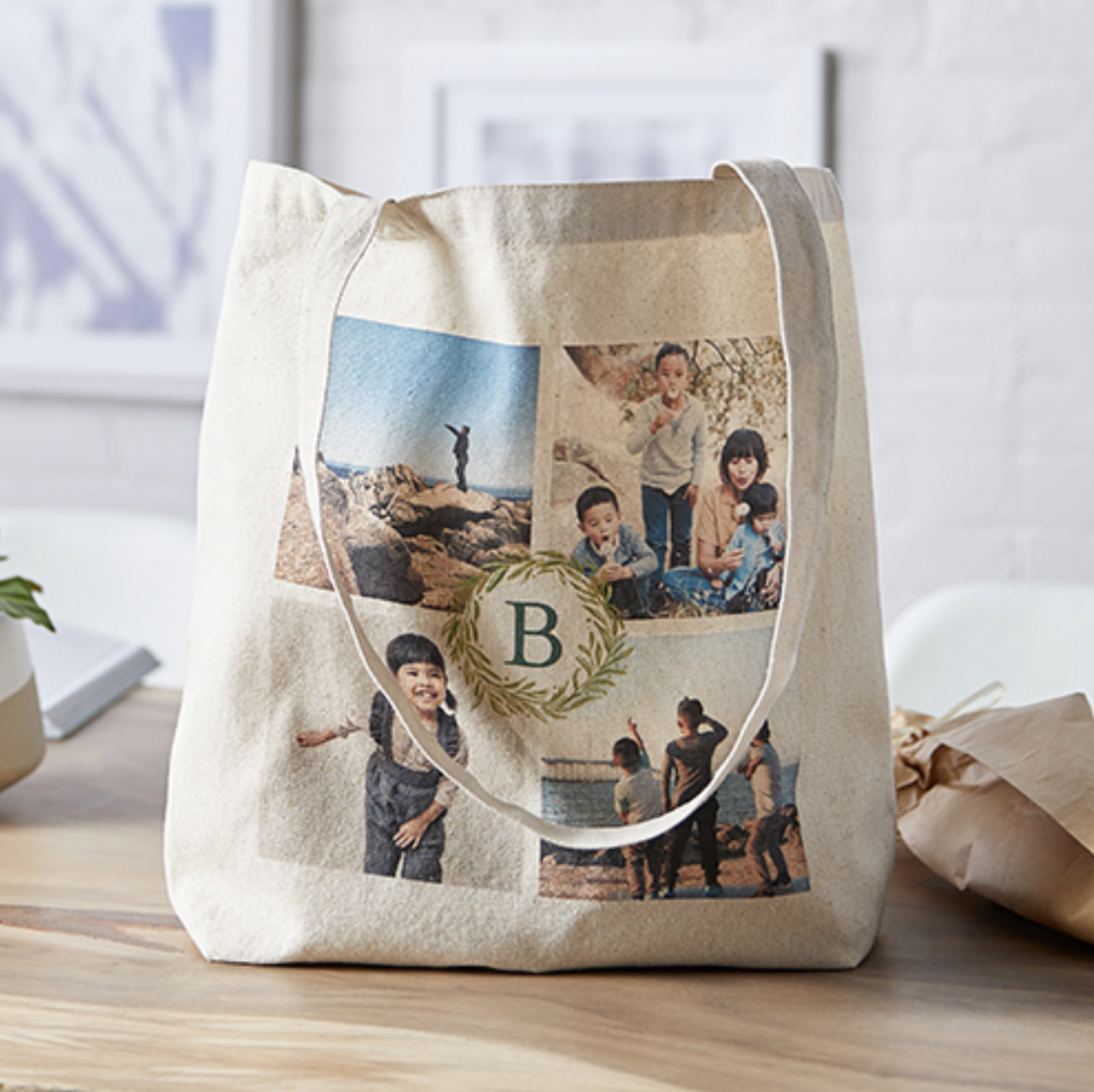 """Customized tote bag with four different photos and the letter """"B"""" in the middle"""