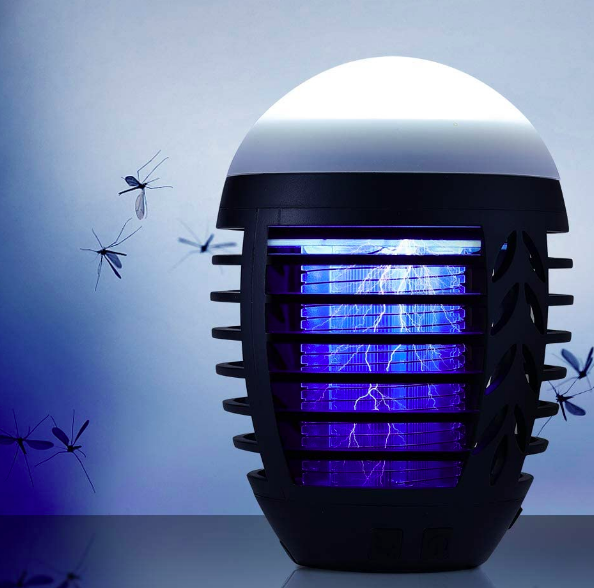A rounded lamp top with protective barriers around the electric bug-zapping interior
