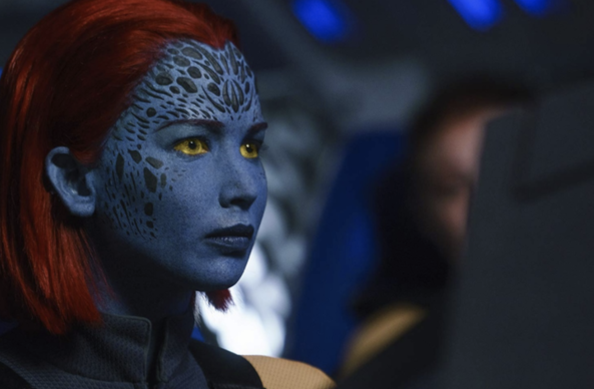 Jennifer Lawrence in blue face makeup and an obvious wig