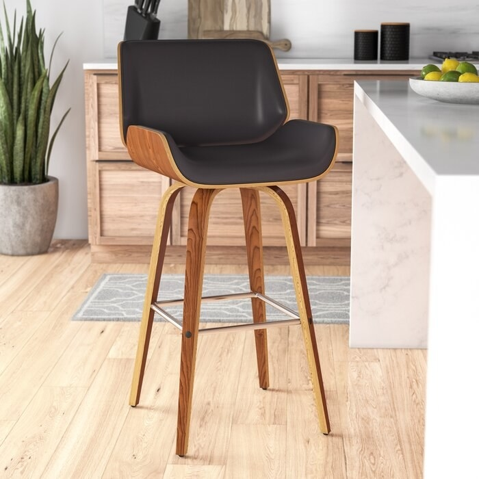 Wooden bar counter swivel stool