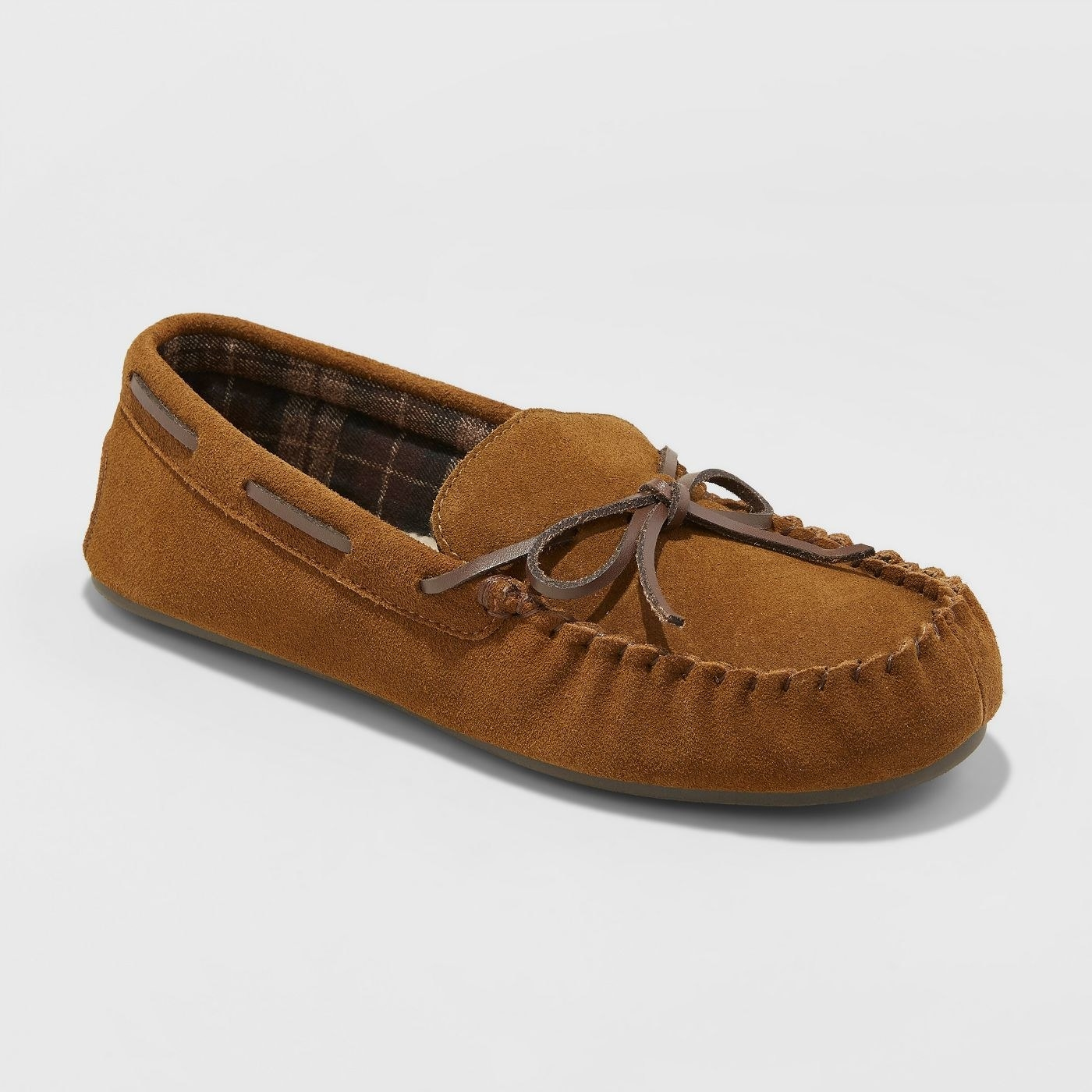 men's moccasin slippers with faux fur lining