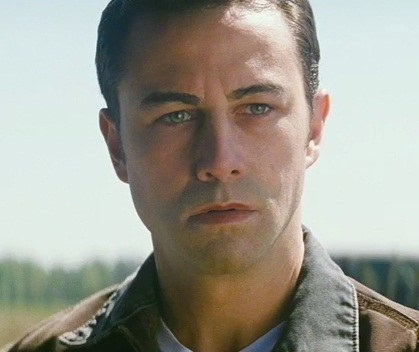 Joseph Gordon-Levitt wearing a weird fake face of another average looking dude