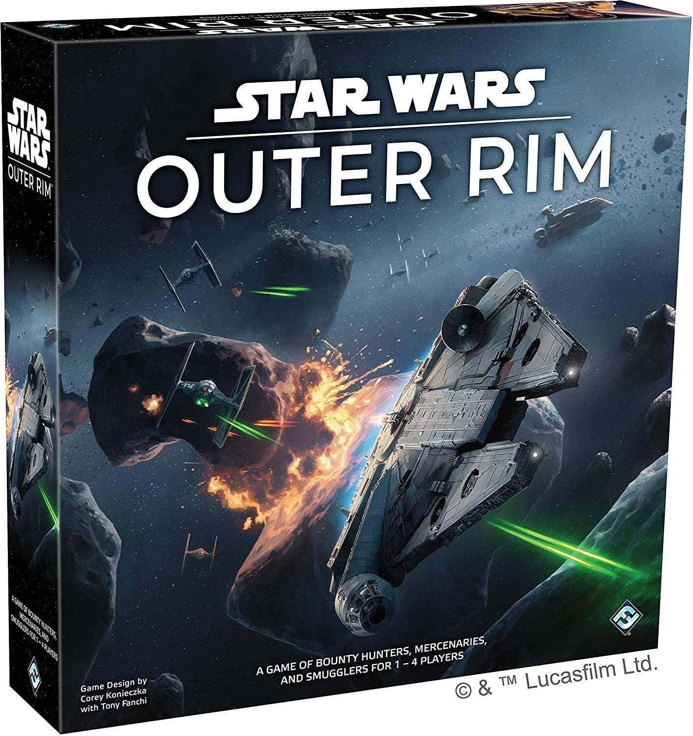 The packaging of the game, which features the Millennium Falcon