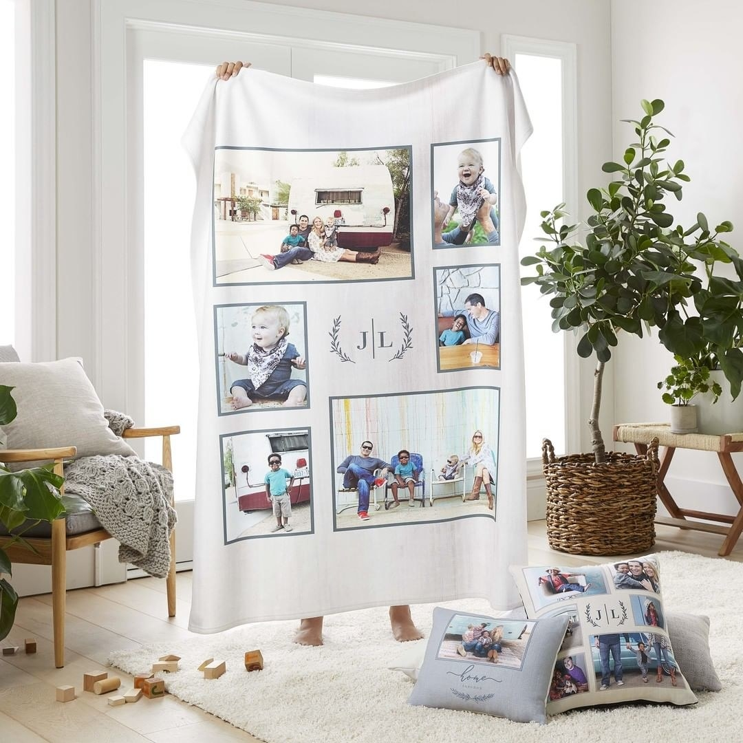 Blanket with six different photos and initials in the middle