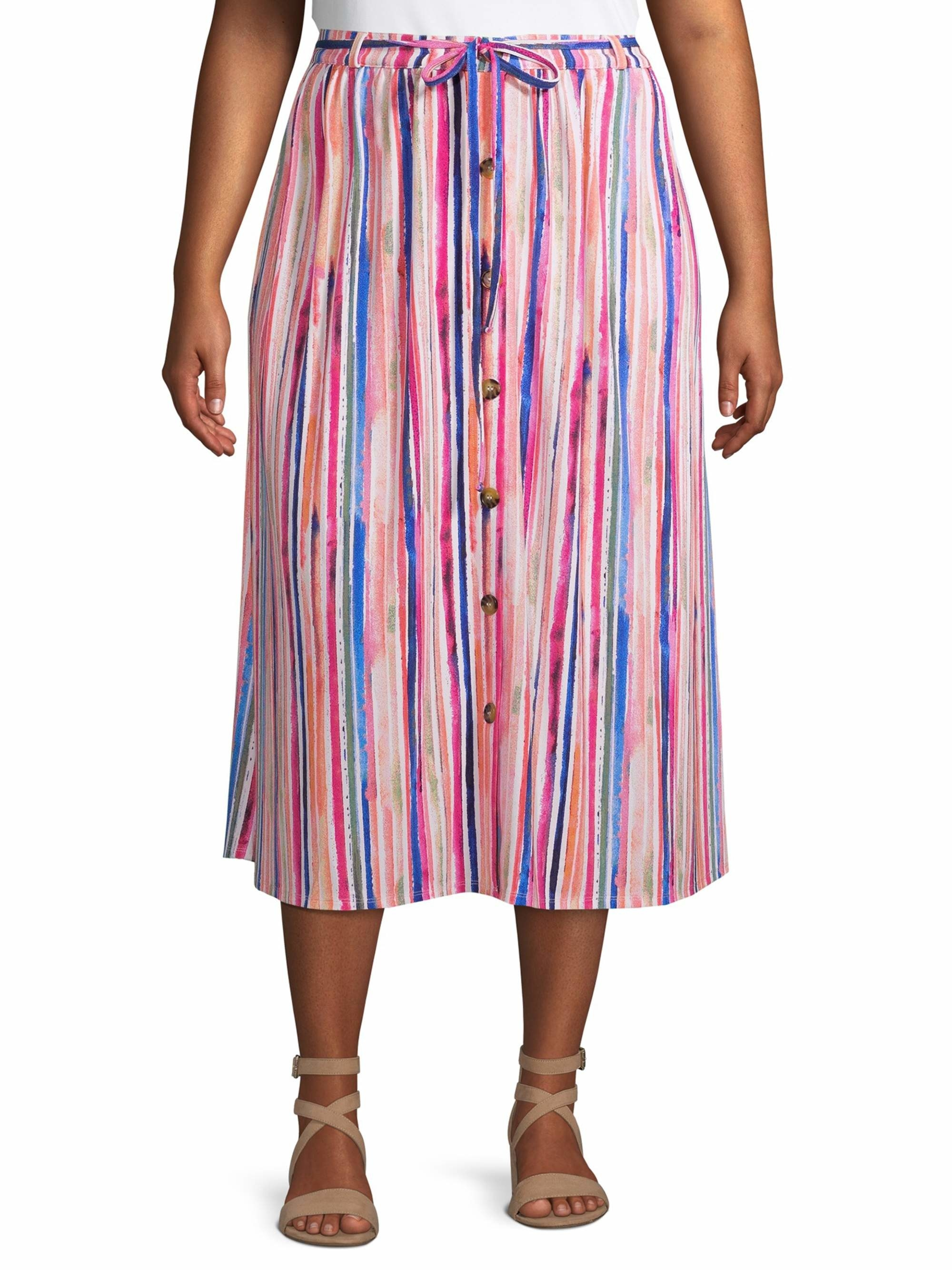 the skirt in an array of bright colors and vertical stripes