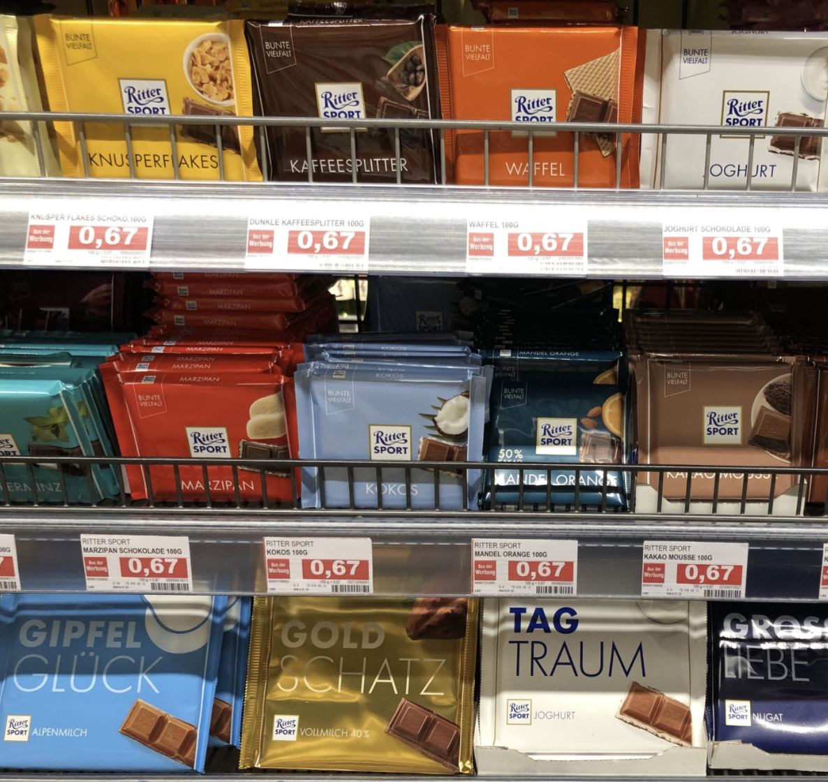 A grocery store shelf display of Ritter chocolate bars