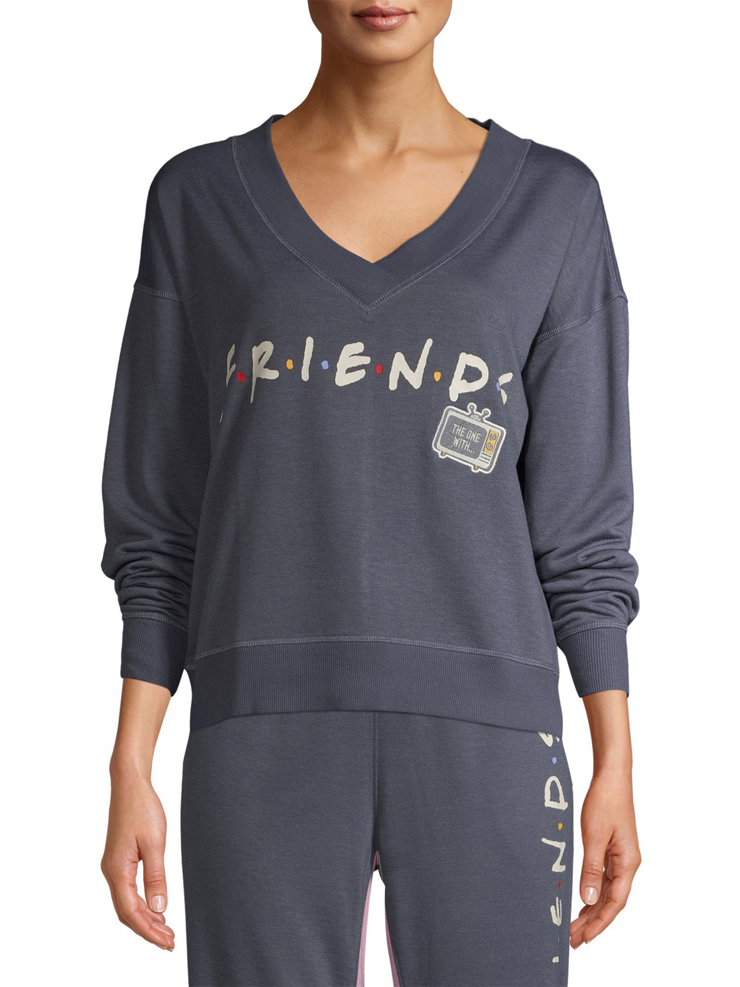 a navy blue long sleeve top with the friends tv show logo on it