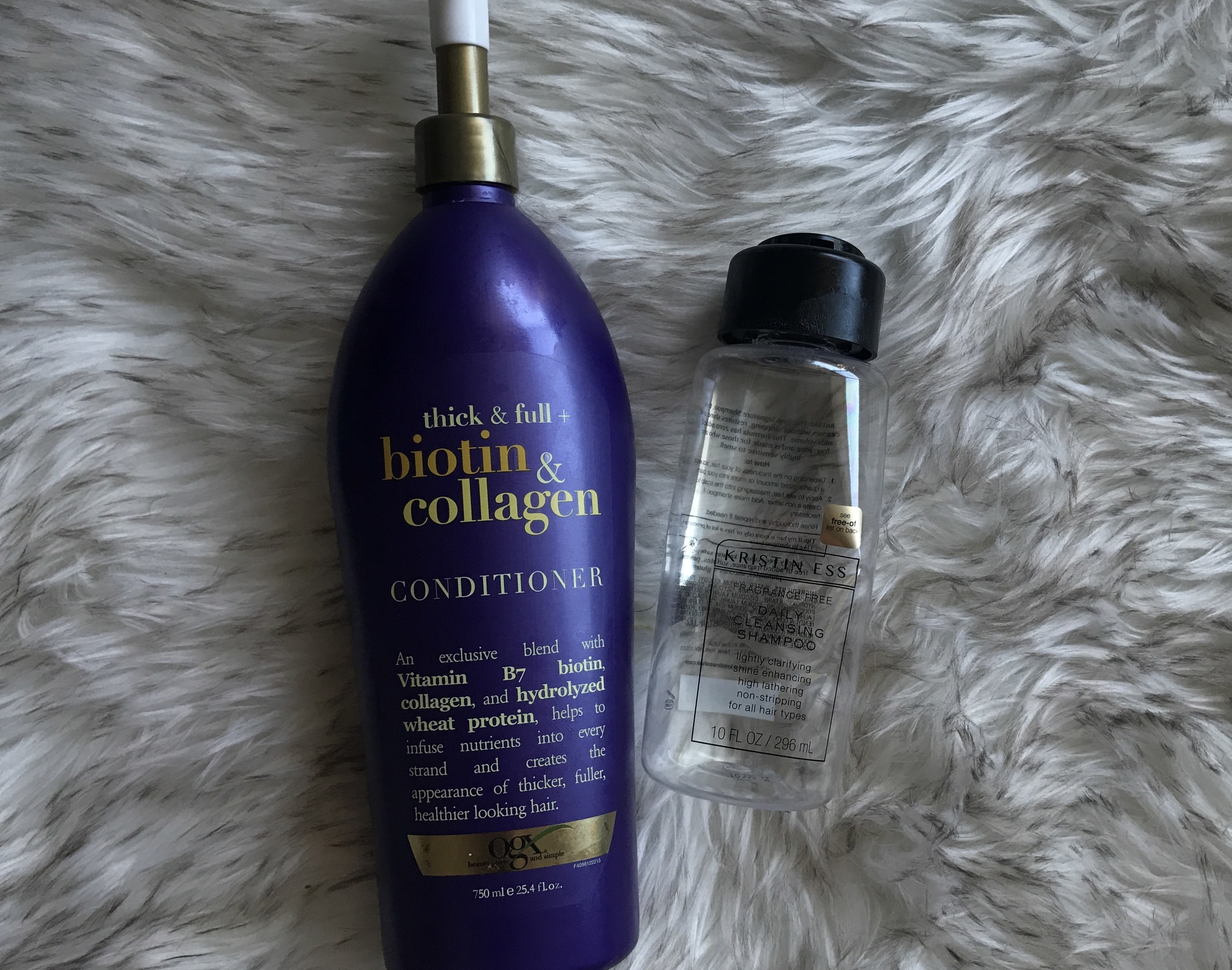 biotin and collagen conditioner and kristin ess daily shampoo