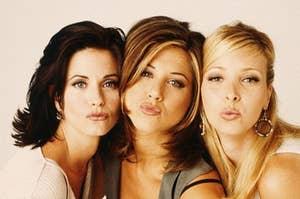 Monica, Rachel, and Phoebe blowing kisses