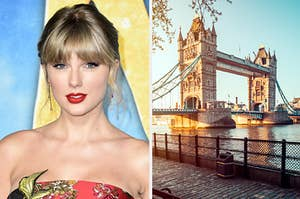 Taylor Swift smiles next to an image of London's Tower Bridge