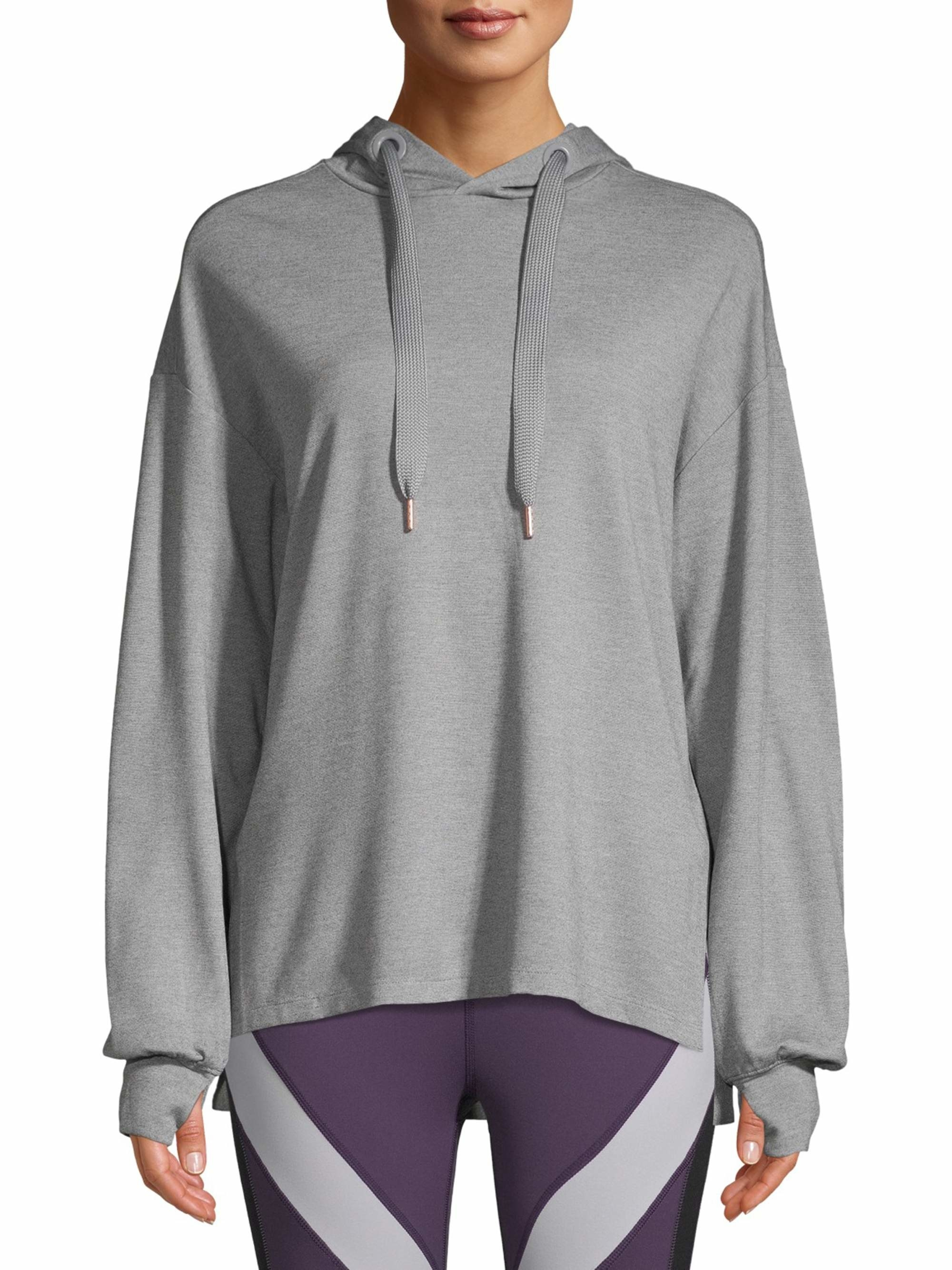 a model in the hoodie in grey